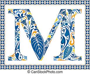 Blue letter M - Blue floral capital letter M in frame made...