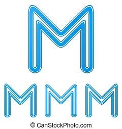 Blue letter m logo design set
