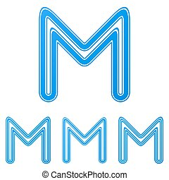 Blue letter m logo design set