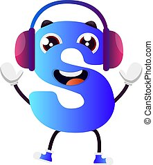 Blue letter S with purple headphones vector illustration on white background
