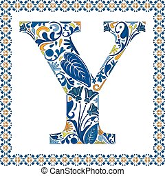 Blue floral capital letter Y in frame made of Portuguese tiles