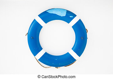 Blue lifesaver on a white wall