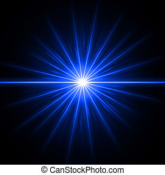Blue light - abstract lens flare light over blue background