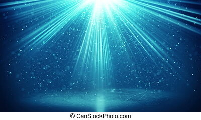blue light beams and particles loopable background