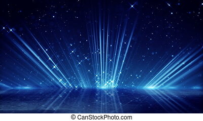 blue light beams and shimmering particles loopable background