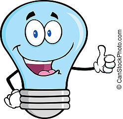 Blue Light Bulb Cartoon Mascot Character Giving A Thumb Up