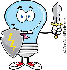 Blue Light Bulb Guarder With Sword