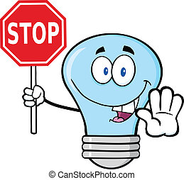Blue Light Bulb Holding A Stop Sign