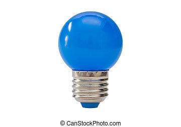 Blue light bulb isolated on white background