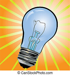 Blue light bulb - Vector illustration