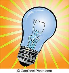 Blue light bulb - Vector illustration