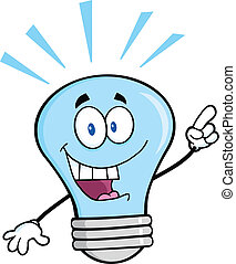 Blue Light Bulb With A Bright Idea