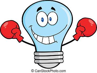 Blue Light Bulb With Boxing Gloves