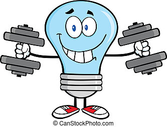 Blue Light Bulb With Dumbbells - Smiling Blue Light Bulb...