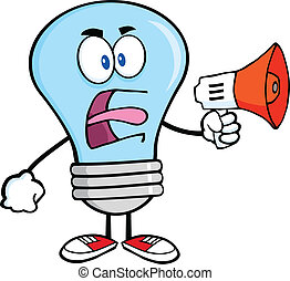 Blue Light Bulb With Megaphone