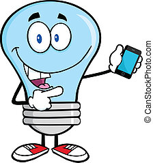 Blue Light Bulb With Mobile Phone
