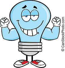 Blue Light Bulb With Muscle Arms