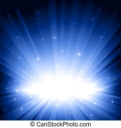 Blue light burst with stars - Festive blue light burst and...