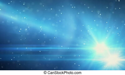 blue light flares and particles loop background