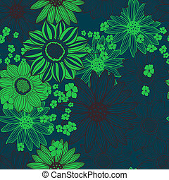blue light green floral seamless pattern