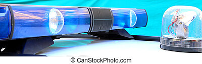 blue light in the police car