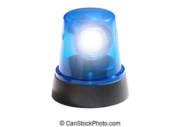 Blue light isolated on white backgr