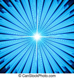Blue Light rays with star.
