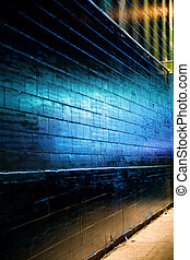 Blue light reflect on Brick Wall for background