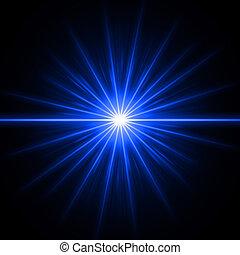 Blue light - abstract lens flare light over blue background