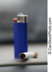 Blue Lighter and a Cigarette