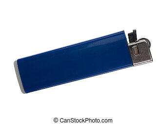 Blue lighter on a white background