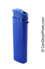 Blue lighter on white