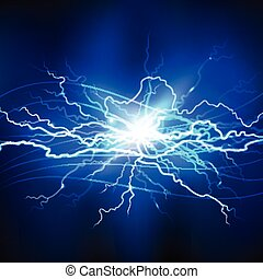 Blue Lightning Background - Blue lightning realistic...