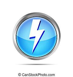 blue lightning icon on a white background