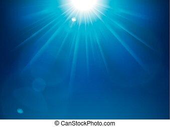 Blue lights shining with lens flare background vector illustration