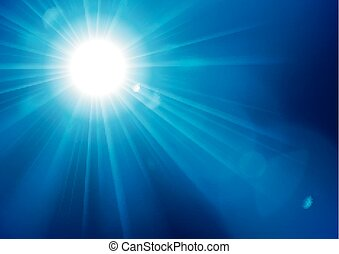Blue lights shining with lens flare on clipping mask vector illustration