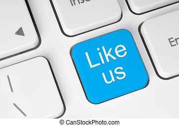 Blue like us button