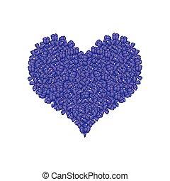 Blue Lilac or Syringa Vulgaris in A Heart Shape