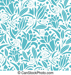 Blue lily silhouettes seamless pattern background - Vector...