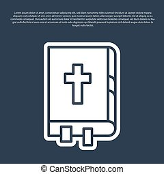 Blue line Holy bible book icon isolated on blue background. Vector Illustration