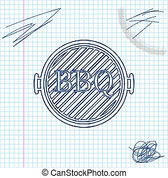 Blue line sketch Barbecue grill icon isolated on white background. Top view of BBQ grill. Vector Illustration