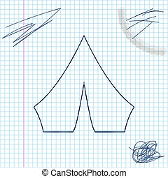 Blue line sketch Tourist tent icon isolated on white background. Camping symbol. Vector Illustration