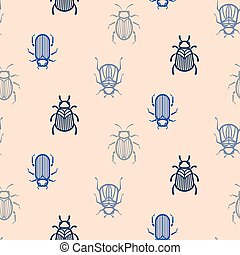Blue line style beetle vector seamless pattern for print.