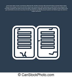 Blue line The commandments icon isolated on blue background. Gods law concept. Vector Illustration