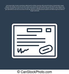 Blue line Warranty certificate template icon isolated on blue background. Vector Illustration
