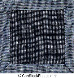 Blue linen napkin background top view