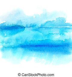 Blue lines - abstract watercolor background - space for your own text