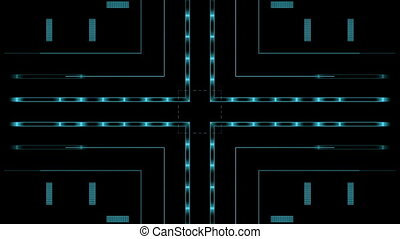 Blue lines, letters on the digital black screen
