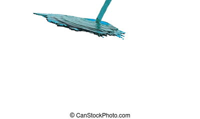 blue liquid flow falls down fills background