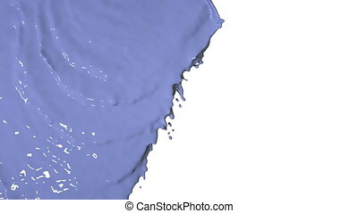 blue liquid flows and fills the screen slow motion. Colored...